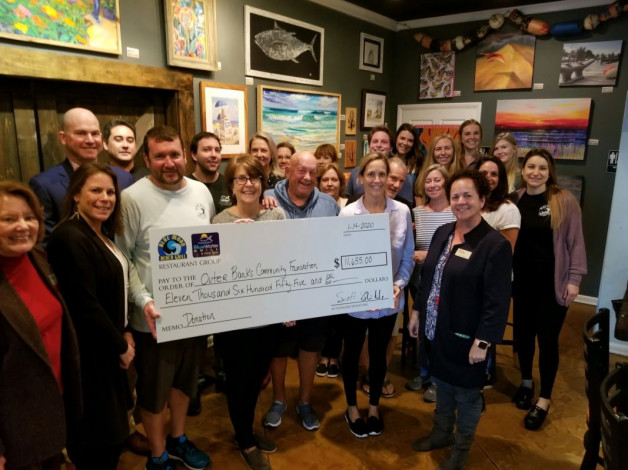 Blue Moon and Blue Water Grill Donate $11,655 to the Outer Banks Community Foundation's Ocracoke Relief Effort!  A Big THANK YOU to our CUSTOMERS for Your Generosity!