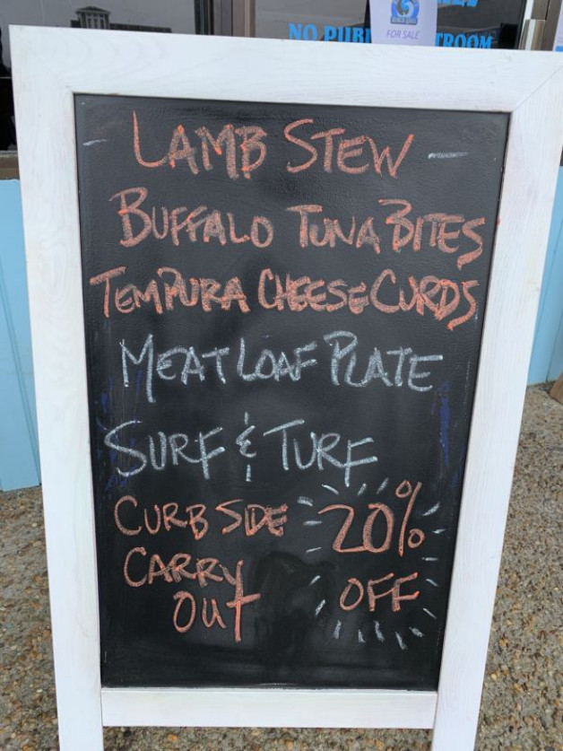 Dinner Specials, Monday, March 23, 2020 – 20% Off All Orders and Bottled Beer and Wine. Curbside Take-Out (252.261.BLUE)