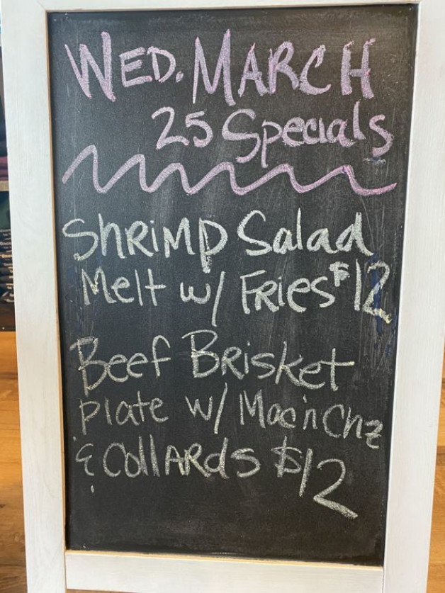 Wednesday, March 25 Lunch Specials – 20% off all orders