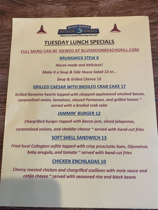 Tuesday Lunch Specials- 20% Off