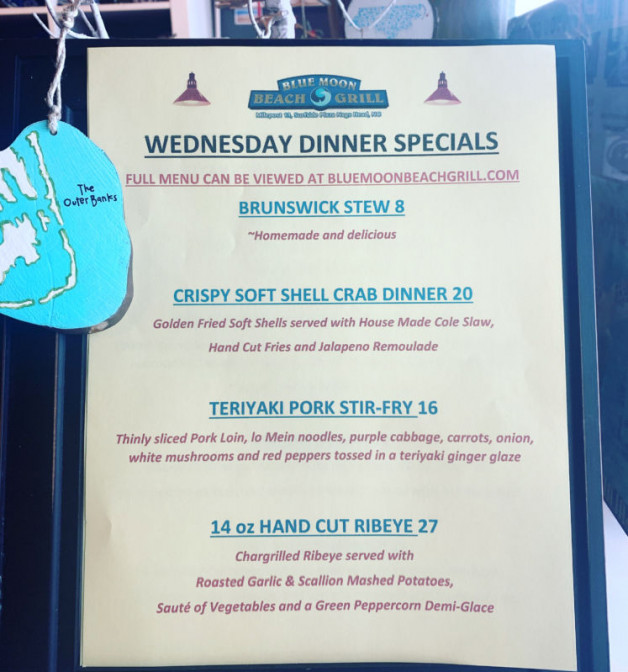 Dinner Specials… 20% OFF… Wednesday, 4/15/20