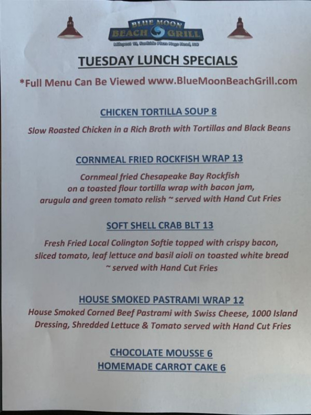 Tuesday 4/28/20 Lunch Specials