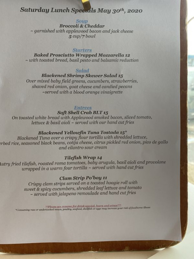 Saturday Lunch Specials May 30th, 2020